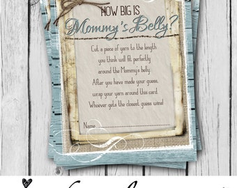 How BIG is Mommy's Belly, Card, Boy, Baby Shower Game Card, Rustic, Teal, Burlap, Wood, Twine, Rope, Country, Western - INSTANT DOWNLOAD