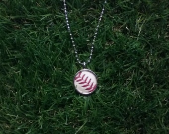 Baseball Necklace- Classic- Round 3/4 inch, Baseball Leather, Metal Back