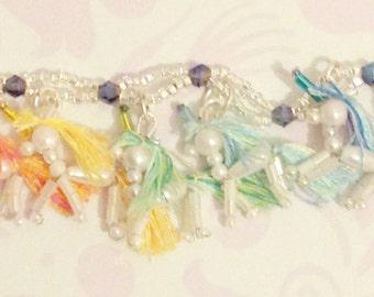 Silver and crystal rainbow miniature unicorn bracelet
