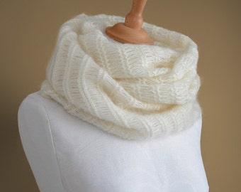 Knitted cowl, knitted silk and mohair cowl, knitted snood in cream colour 'Smoke Icicle'