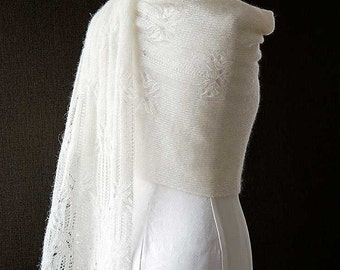 Knitted lace scarf, silk and mohair lace scarf, lace stole, shawl in cream colour 'Butterfly'