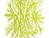 "Woodcut Print ""Peaceful Prairie"" Green Native Flowers"