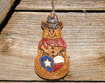 Small Heart Of Texas Cowboy Snowman / Texas Snowman Ornament / Rustic Western Texas Christmas Snowman Decor / Texas Snowman Gift / Texas Art
