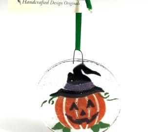 Halloween Pumpkin Fused Glass Ornament