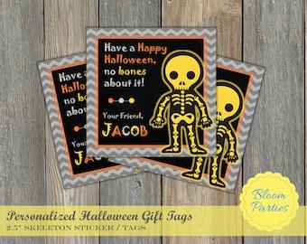 Halloween Skeleton Boy Fall Treat Hallowee  Party Favor Tag Sticker Label Personalized Digital Printable DIY