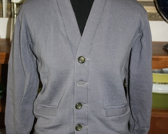 Sale Reduced Price Cardigan Sweater Retro Grey Gray Charcoal Smithee Wool