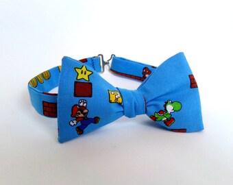 Super Mario Bow Tie Self Tie Super Nintendo Bowtie Yoshi Luigi Boy Men Extra Long Freestyle Adjustable Geekery Gamer Wedding Videogame Tie