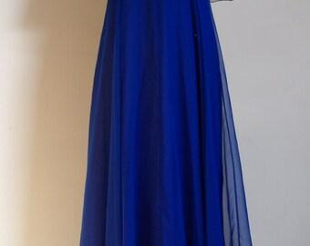 Jean Varon 1970s blue chiffon Maxi dress uk 10