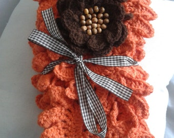 Handmade, crochet poncho, crochet scarf, crochet shawl, with crochet brooch, neckwarmer.