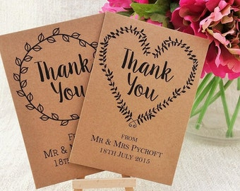 Personalised Thank You Wedding Card - Pack of 10