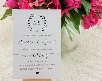 Rustic Floral Wreath Calligraphy Wedding Invitation