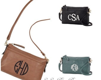 Monogrammed cross body leather purse, Personalization Included