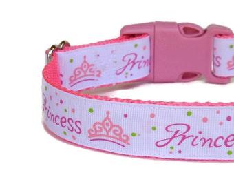 Pink Princess Girl Dog Collar - Adjustable - Nylon - (Buckle or Martingale)