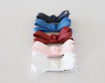 Set of 5 Baby Hair Clip / Small Bows / Bow Clip /  Ribbon Hair Bow Clips Toddler Girl, Infant Hair Clips