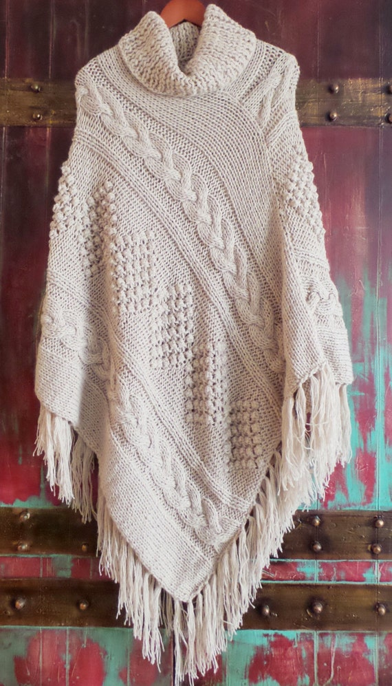 Alpaca Poncho Knitting Pattern : Beige Hand knitted Cable Poncho Alpaca Blend Cape by khuskuy