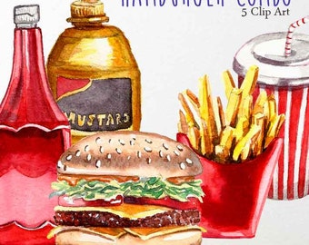 Hamburger Combo hand painted watercolor Clip art (5 Png Images 300 dpi, transparent background) fast food, junk food, french fries, soda.