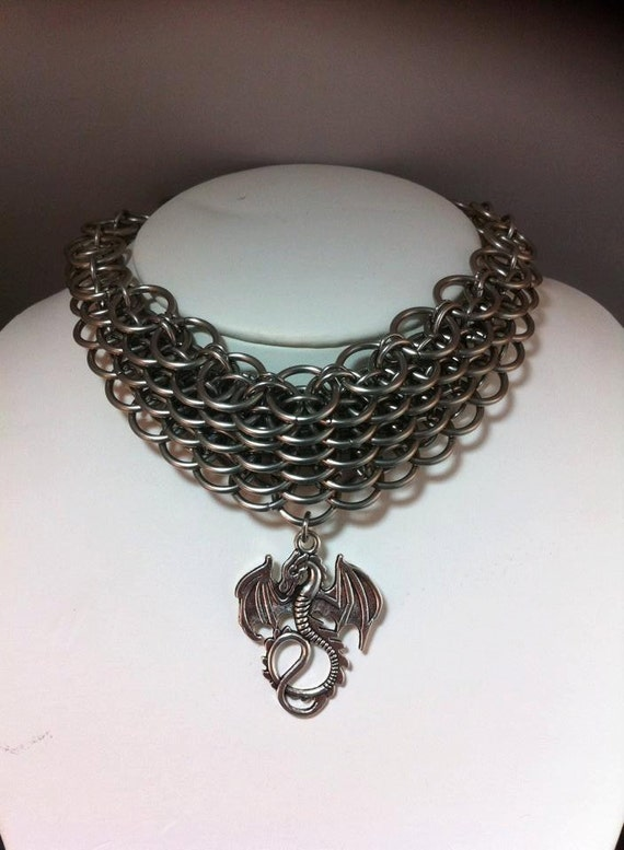 Chain Maille Stainless Steel Choker / Necklace Dragon Scale Weave- Sexy USA MADE