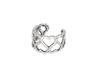 Sterling Silver .925 Hearts Ear Cuff Clip-on, Adjustable. Oxidized | Made In USA