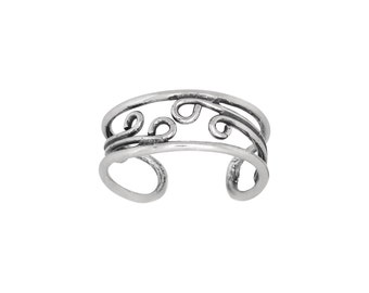 Sterling Silver .925 Spiral Waves Toe Ring adjustable size   Made In USA