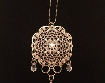 Bronze-toned Large Filigree Flower with Hanging Jewels Rearview Mirror Charm or Sun Catcher