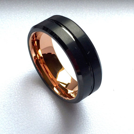Tungsten Wedding Band Rose Gold His Promise Ring Engagement Ring Mens Tungsten Wedding Band
