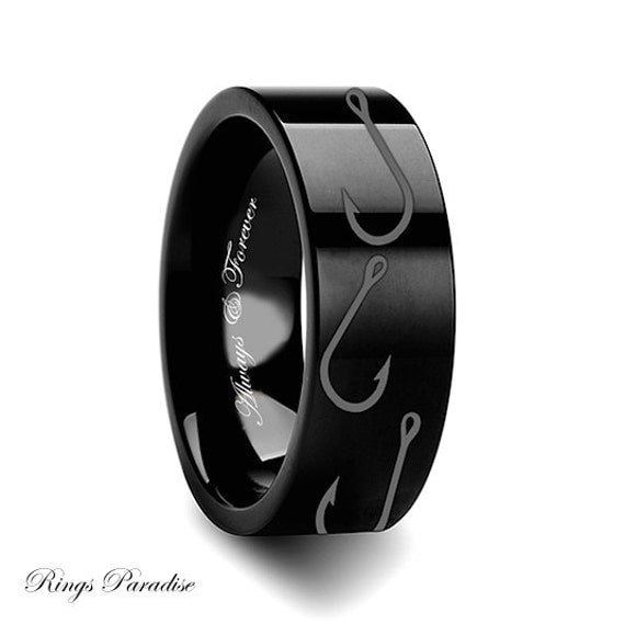 4mm 12mm personalized tungsten wedding band men promise for Mens fishing wedding bands