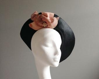 ELSA Black Fine Straw Vintage Style Millinery Fascinator Hat
