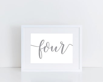 Horizontal Minimalist Calligraphy Table Numbers - Wedding Table Numbers