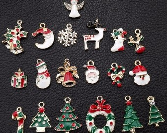 12 Different Christmas Charm Collection, 12pcs Colorful Enamel Christmas charms Assortment, Christmas theme C001