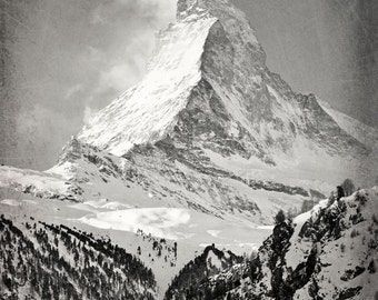 Matterhorn, Cabin Decor, Black and White Photography, Winter, Snow, Mountain, Alps, Zermatt, Switzerland, Travel Photo, Fine Art Print, Blue