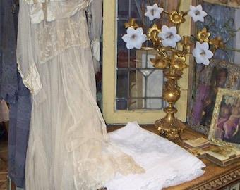 Exquisite Antique French Wedding Dress circa 1890-1910
