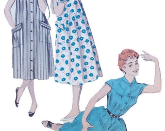 1950s Butterick 7139 Quick and Easy Morning Coat Size 16