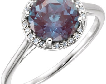 14K White Gold Diamond & Chatham Alexandrite Halo Style Engagement Ring 7, Set with a 2 Carat or 8 MM Lab Created Alexandrite Gemstone