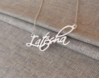 Silver Name Necklace,Personalized Nameplate Necklace,Custom Name Necklace, Custom Celebrity Necklace, Cursive Name Necklace