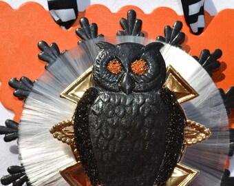 Black Owl Halloween Ornament-Orange