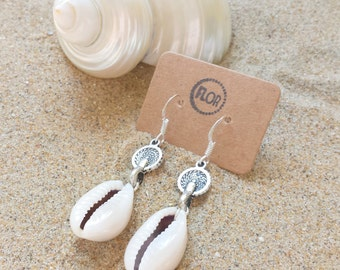 Coins and cowries earrings - Earrings with tiny coins and cowry shells