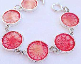 Raspberry daiquiri bracelet, resin bracelet, raspberry bracelet, statement bracelet by Tallulah does the Hula