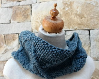 French Blue Tweed Diamond Cowl. Aran Infinity Cowl. Infinity Scarf. Loose fitting. Relaxed Cowl. French Blue Snood. French Blue Neckwarmer.