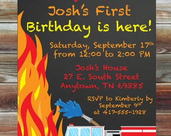 Fireman Firetruck Theme First Birthday Invitation - Printable Custom Chalkboard 1st Birthday Boy Invitation - Fire Theme Birthday Party