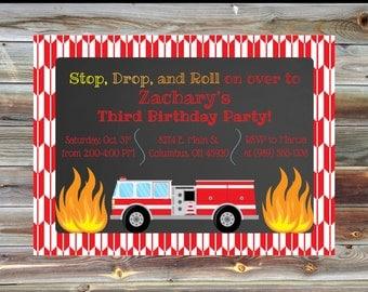 Printable Fireman Firetruck Theme Third Birthday Invitation - 3rd Birthday Boy Invitation - Fire Theme Birthday Party Custom Invitation