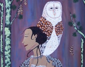 She Flies with the Owls -a High Quality Art Print of the Original Contemporary Folk Painting by Jeanne Fry
