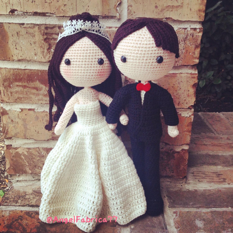 Wedding Couple dolls Amigurumi Crochet White by AngelFabrica77