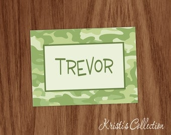 Boys Personalized Camo Note Cards Notecards - Personal Boy Male Camo Stationery Stationary - Custom Camouflaged Note Cards