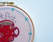 Embroidered Hoop Art, Applique, Textile Wall Hanging, Embroidered Wall Art, Pink, Red Floral, Inspirational Quote