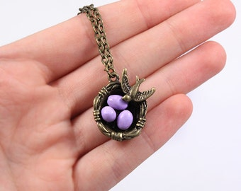 purple necklace/for/mom gift/for/wife nest necklace/for/ grandma gift bird necklace with eggs mom necklace mom/to/be gift/for/friend Рю61p