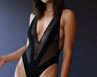 Sexy One-piece RIO/ Black Teddy transparent mesh/ Deep plunge open front Bodysuit / Cheeky cut-out back Onepiece / Dancewear / Sexy Lingerie