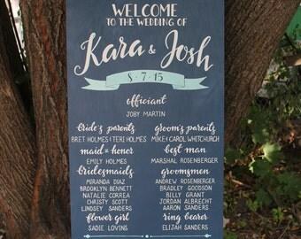 Wedding program wood sign | chalkboard wedding program | custom wedding signage