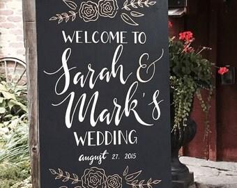 "Wedding chalkboard welcome sign | Custom hand painted wedding signage | 24"" x 36"""