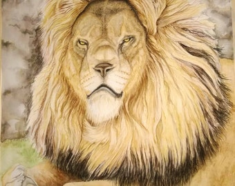 Lion watercolor on acid free archival paper, unframed.