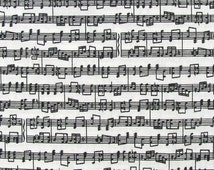 Sheet Music Fabric By the Yard, Half, Fat Quarter Black & White Fabric Notes Sheet Music 100% Cotton Quilting Apparel Fabric BTY w1/15